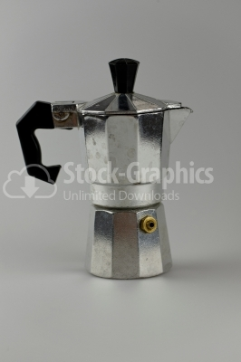 Old aluminum coffee maker - Stock Image