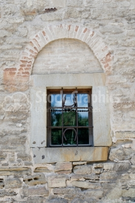 Old window on wall