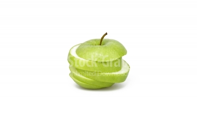 Green apple in slices
