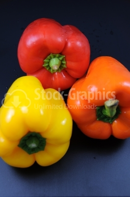 Miscellaneous colored peppers - Stock Image