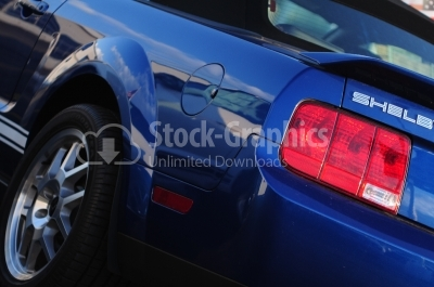 Blue Car headlight - Stock Image