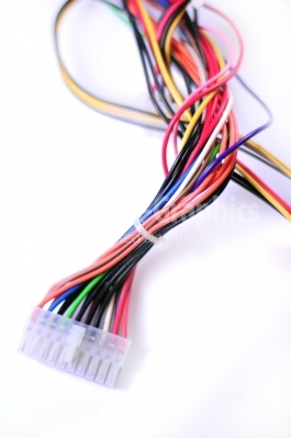Multi colored computer cables - Stock Image