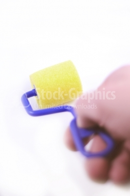 Small paint roller - Stock Image