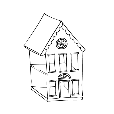 House Doodle Black And White Vector Clipart