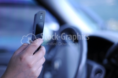 Transportation and vehicle concept - man using phone while drivi