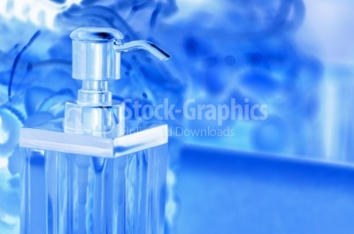 Plastic Bottle with liquid soap on a blue background