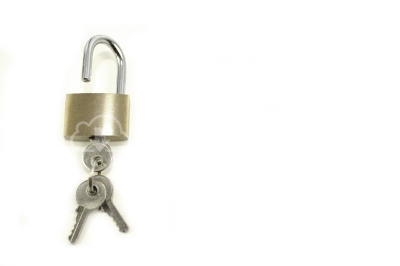 Lock and key isolated on white background