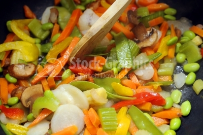 Many vegetables in the pan
