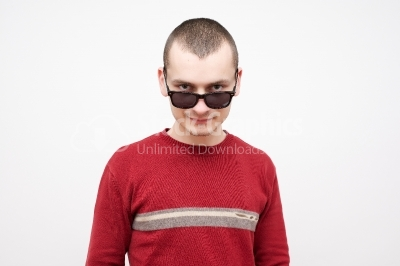 Young man in red sweater