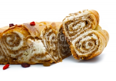 Some pieces of traditional folk cake poppy rolls