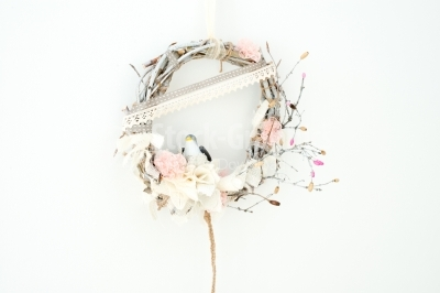 Lovely spring wreath made with dry sticks