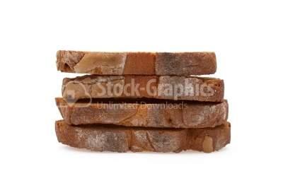Stack of toasted bread on white background