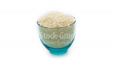 Rice on transparent blue glass