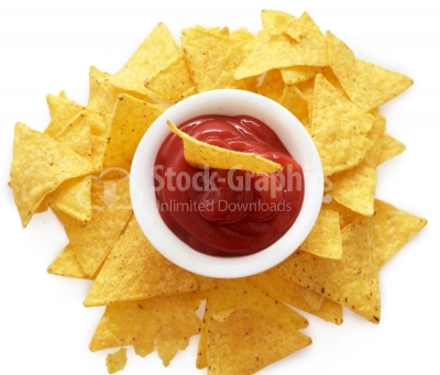 Bowl of salsa with tortilla chips top view