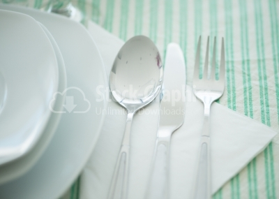 A set of cutlery arranged on table