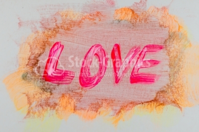 Love text written on watercolor texture