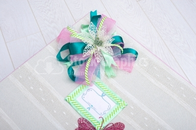Artificial flower on gift box