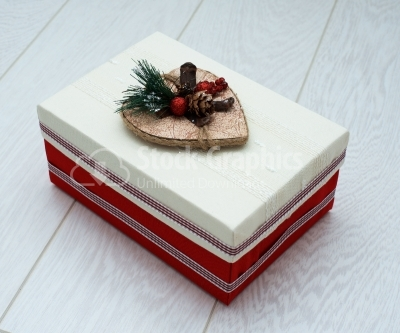 Red and white Christmas gift box