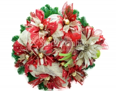 Christmas wreath with yellow bauble decorations