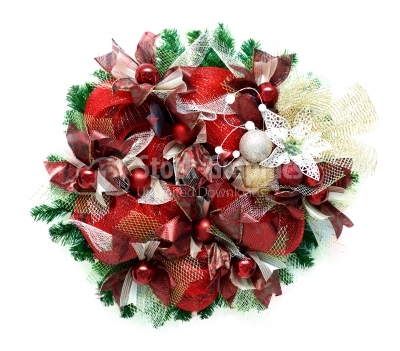 Hand made christmas wreath isolated on white
