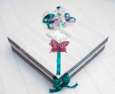 Gift box with pink buterfly