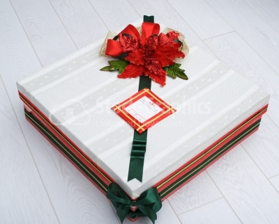 Gift box with floral ornament