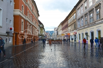 A view of one of the main streets in downtown Brasov.