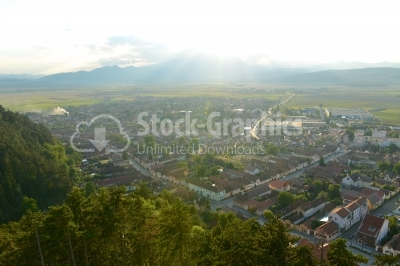 Aerial view of romanian city rasnov taken from the top of the fo