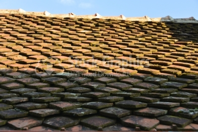 Traditional old roof tiles on Medieval houses
