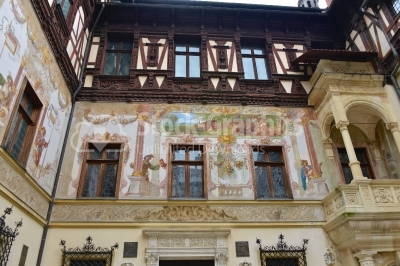 Peles castle, Sinaia, Romania. Interior courtyard. Beautiful pai