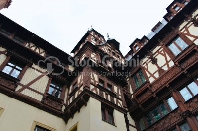 Peles castle, Interior courtyard. Beautiful paintings on the wal