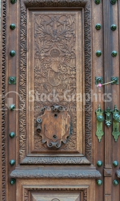 Old castle wooden door and wall architecture