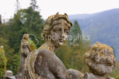 Statue in the garden of the Peles Castle, Carpathian mountains,