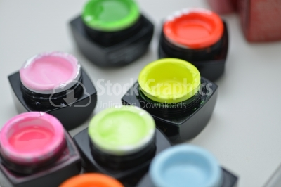 Many colors of uv gel nails