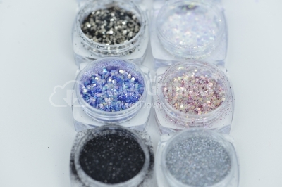 Jars of glitter for nail decoration