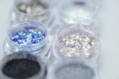 Close up Jars of glitter for nail decoration