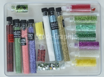 Large professional set of paints and glitter for manicure
