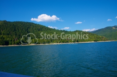 Bicaz lake, Ceahlau mountain, Eastern Carpathians, Moldova, Roma