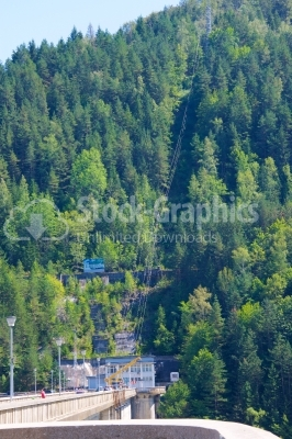 Landscape in Romania with Bicaz lake and viaduct