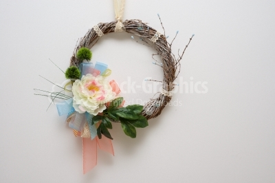Spring wreath on white background
