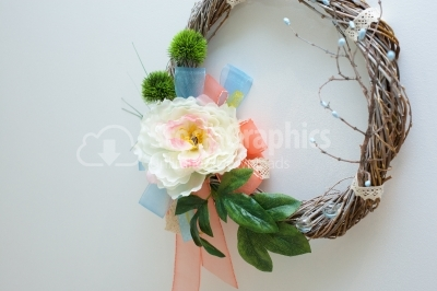White flower on spring wreath
