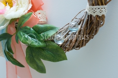Water balls on wooden wreath