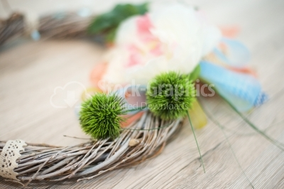 Floral ornaments on wood background