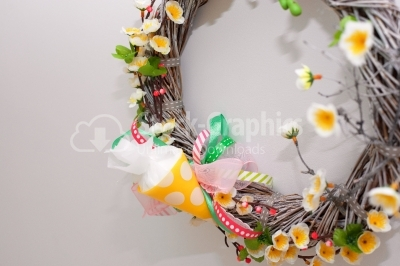 Spring wreath close up