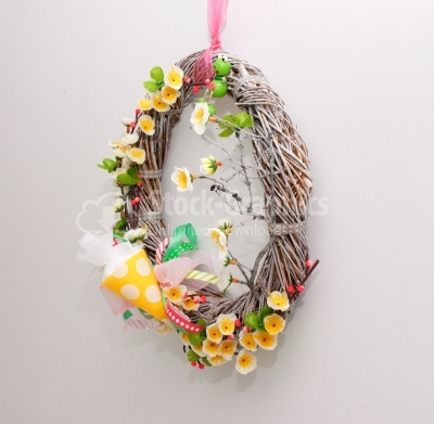 Perspective spring wreath on white background
