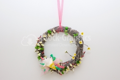 Amazing wreath decoration on white background