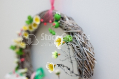Floral details on wreath