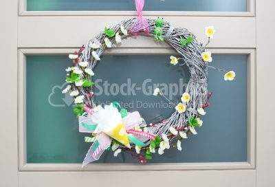 Spring wreath hanging on the door