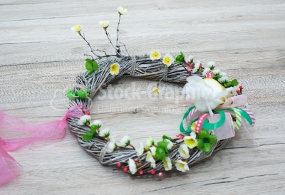 Wreath on vintage table