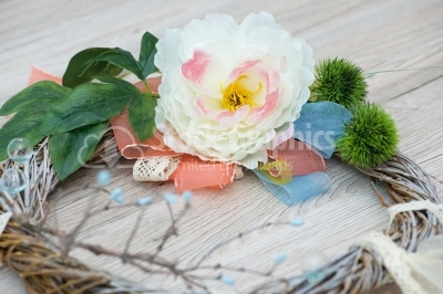 Floral ornaments on vintage wood table